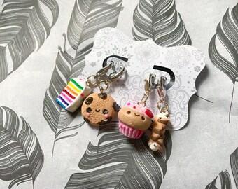 Stitch Marker Set Cookie Charm Cupcake Charm Cannoli Charm Cake Charm
