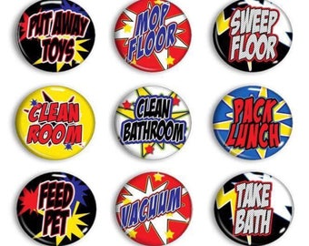 Large Chore Magnets - Superhero Chores - Chore Chart Magnets - Family Organization - Family Chores - Kids Job Magnets