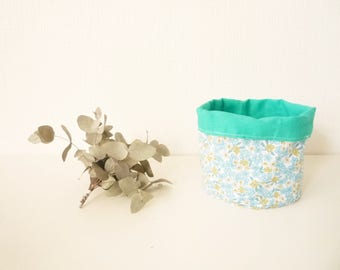 Floral - flowers blue and yellow - Mint linen tidy