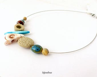 Summer necklace, shell, stone, ceramic