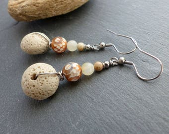 Cream/beige earrings, natural stone and stainless steel