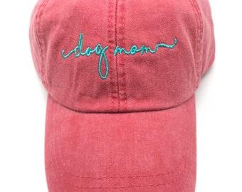 Dog Mom Baseball Cap - Handwriting Script Ball Hats