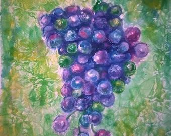 Watecolor Painting, Original Painting, Watercolor Art ,Grapes Painting
