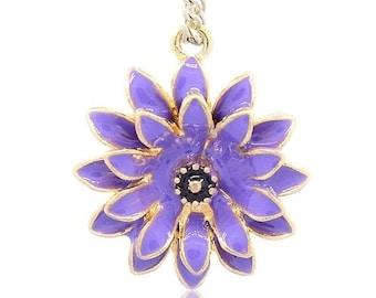 25% off SALE Lavender Purple Flower Pendant, Golden Flower, Flower Pendant, 27x24x8mm, Small Purple Flower, Enameled Purple Flower Pendant