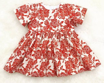 sale, Cream red floral dress, ready to ship