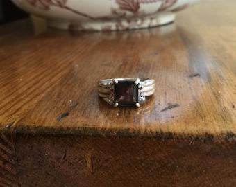 Vintage Sterling Silver Smoky Quartz and Diamond Ring