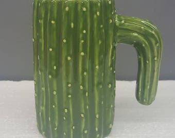 Cactus Mug - Ceramic Cactus Mug - Coffee Mug - Green Cactus - Drinkware - Hand Painted Ceramic Mug - Glazed Cactus - Santa Fe Decor - Sale