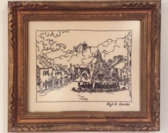 Needlework Stitched Handcrafted Art Dunster England Ornate Gold Frame Black Thread Needlepoint Crewel Cross Stitched Tapestry Embroidery