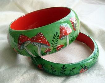 "Set of two Hand Painted Wooden Bangle Bracelet ""Fly Agaric"" Набор из двух деревянных браслетов ""Мухоморы"""
