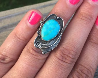 Native American Old Pawn Dead Pawn Sleeping Beauty Turquoise Feather Design Sterling Silver .925 Statement Ring