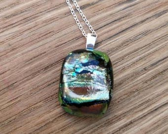 Goldie, Green and Pink Dichroic Glass, Sterling Silver Pendant on a sterling silver chain.