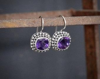 Amethyst and Silver Earrings, Amethyst Drops, Sterling Silver Earrings, February Birthstone, Birthstone Jewellery, Silver Granulation