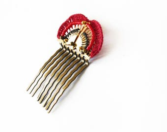 Jewel retro comb crochet textile jewelry, fan, two-tone pink and gray, Nathalie Grelier