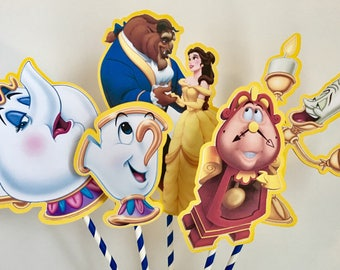 BEAUTY And THE BEAST Centerpiece Picks Set of 5 (double-sided)/Cake Toppers / Birthday Party / Decorations / Supplies / Decor