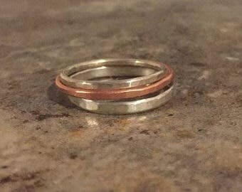 Hammered Stacking Ring in Sterling Silver, Copper , Brass, Rose Gold, Gold