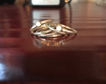 Sterling Silver Bezel and Stacking Ring Sets