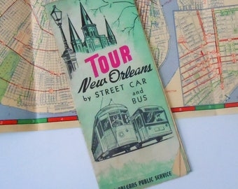 New Orleans Street Car and Bus Map / Printed in 1939 / Authentic Charm / Full Vintage Frameable Map