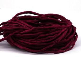 Hand-dyed Habotai Silk Ribbon bordeaux, ø3mm   Silk cord - 100% pure silk - H3M4634U