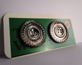 Pair of Large Vintage Glass Buttons