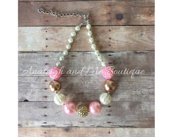 Pink and Gold Chunky Necklace, Baby Necklace, Toddler Necklace, Chunky Bead Necklace, Pink and Gold,  Pink and Gold Toddler Necklace