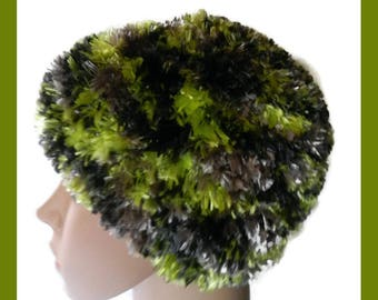 Hand Knitted Boa Beanie Hat Shades of Black and Green V5517