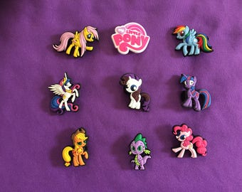 9-pc My Little Pony Shoe Charms for Crocs, Silicone Bracelet Charms, Party Favors, Jibbitz