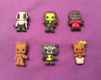 6-pc Guardians of the Galaxy Shoe  Charms for Crocs, Silicone Bracelet Charms, Party Favors, Jibbitz