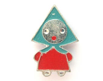 Girl, Rare Vintage metal collectible badge, Cartoon, Russian, Traditional, Soviet Vintage Pin, Made in USSR, 1980s