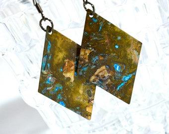 Brass earrings, patina earrings, boho earrings, geometric earrings, rustic earrings, green patina, verdigris earrings, long earrings, gypsy