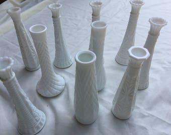 Lot of 10 milk glass bud Vases