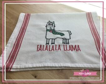 Llama Christmas Pun Tea Towel | Embroidered Tea Towel | Kitchen Towel | Embroidered Towel | Hand Towel | Dish Towel
