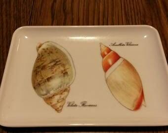 Italian Melamine Tray, 1970s, trinket tray, seashell design, jewelry tray, spare change tray, plastic tray