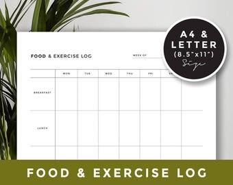 A4 & Letter size Food log for health: Meal Planner Printable, Printable Meal Schedule, Food Planner, INSTANT DOWNLOAD