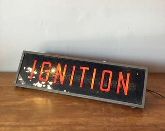 Vintage gas station / auto store lighted sign - Ignition