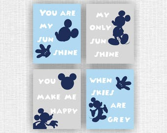 Disney, You are my sunshine, Blue and Gray Mickey Mouse and Name baby boy Room wall Decor Art Set of 5, 8x10, Mickey INSTANT DOWNLOAD