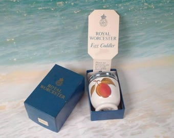 ROYAL WORCESTER Porcelain Single Egg Coddler - Vintage - Evesham Pattern - Boxed