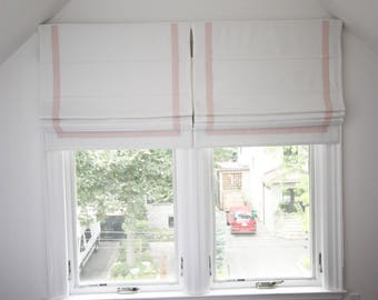 "Flat Roman Shade ""Cheval White with Pale Pink Border"", linen roman shade with chain mechanism, custom made"