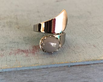Moonstone Sterling Silver Wrap Ring