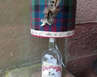 Edinburgh gin bottle lamp with handmade tartan lampshade, pheasant feathers!