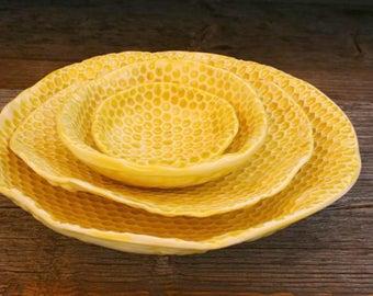 Honey comb SAPAROV porcelain bowls set of 4