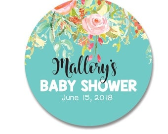 Elegant Floral Baby Shower Stickers,  Personalized Baby Shower Favor Stickers