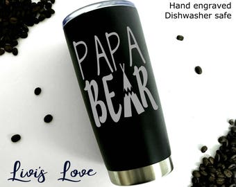 Papa Bear Coffee Travel Mug - Dishwasher Safe - 20 oz Stainless Steel travel mug - Gift for Dad - Father's Day Gift - Dad Coffee to go Mug
