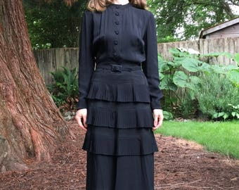 1940s black rayon pleated tiered dress small