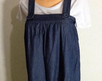Women Blue Denim Jumper Dress Overall Oversized Medium Size