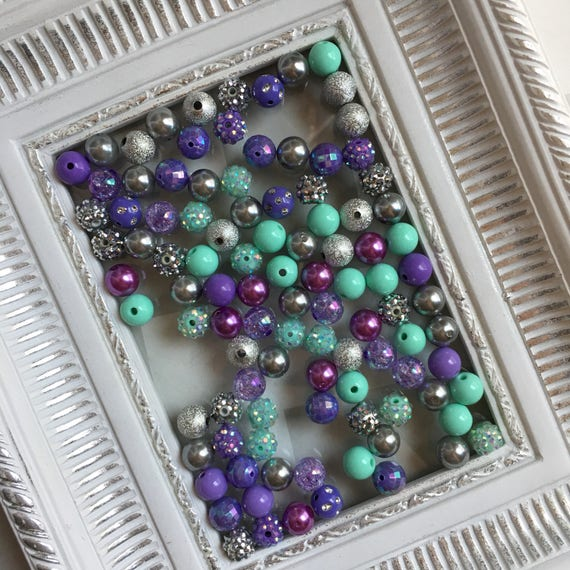 """12mm  """"Wintergreen, Lavender, & Silver/Gray """"  {100 count}  Chunky Bubble Gum Bead Wholesale Bulk Bead Lot for Necklaces or Bracelets"""