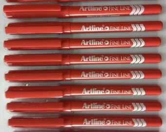 Artline FINE LINER 0.4mm Fine Writing Pen RED Color ( Pack of 10 Pens )