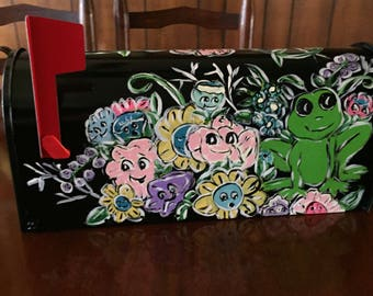Floral painted mailbox - Frog mailbox - Custom design mailboxes