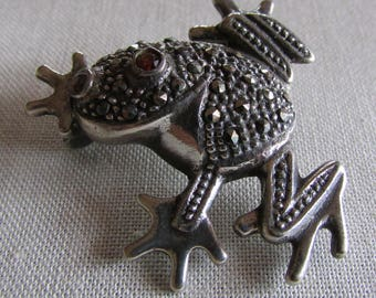 Sterling Silver and Marcasite Frog Pin