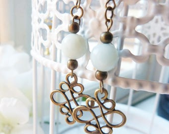 Amazonite stone and bronze Bohemian earrings
