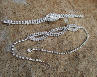 Vintage Rhinestone Necklace and Bracelet Set